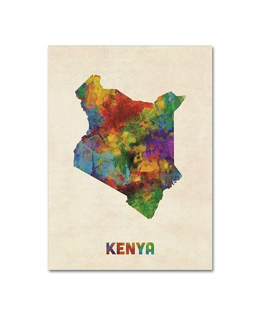 "Trademark Global Michael Tompsett 'Kenya Watercolor Map' Canvas Art - 18"" x 24"""
