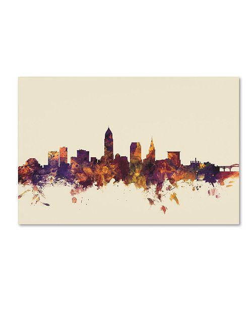 "Trademark Global Michael Tompsett 'Cleveland Ohio Skyline' Canvas Art - 16"" x 24"""