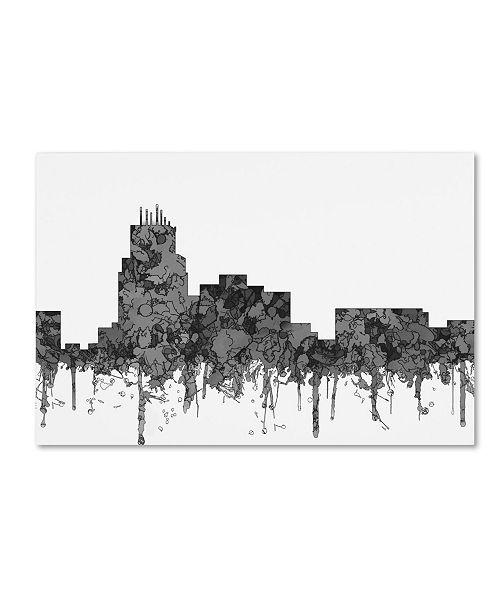 """Trademark Global Marlene Watson 'Durham North Carolina Skyline BW' Canvas Art - 16"""" x 24"""""""