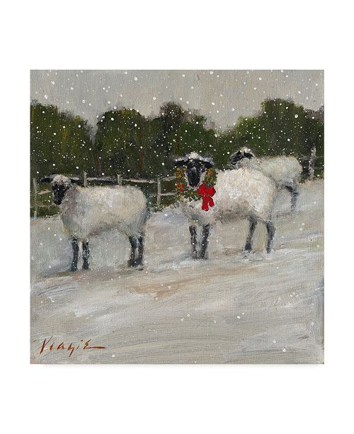 """Trademark Global Mary Miller Veazie 'Sheep In Snow' Canvas Art - 18"""" x 18"""""""