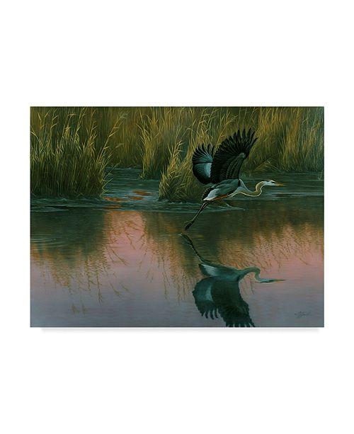 "Trademark Global Wilhelm Goebel 'Evening Flight Great Blue Heron' Canvas Art - 18"" x 24"""