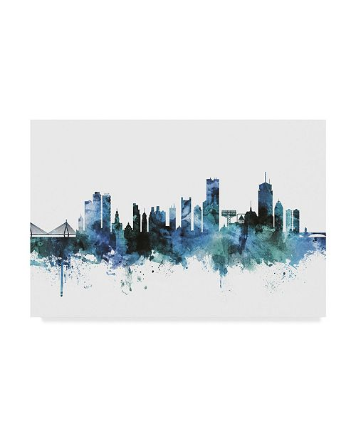 "Trademark Global Michael Tompsett 'Boston Massachusetts Blue Teal Skyline' Canvas Art - 19"" x 12"""