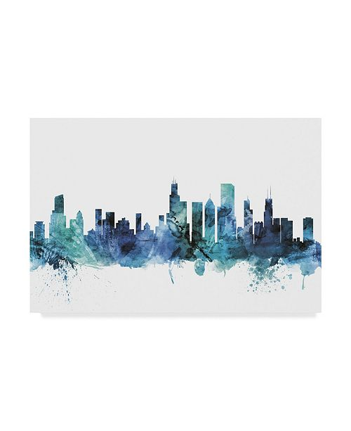 "Trademark Global Michael Tompsett 'Chicago Illinois Blue Teal Skyline' Canvas Art - 19"" x 12"""