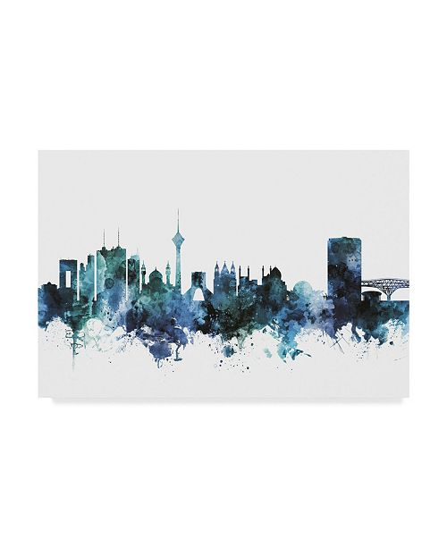 "Trademark Global Michael Tompsett 'Tehran Iran Blue Teal Skyline' Canvas Art - 19"" x 12"""