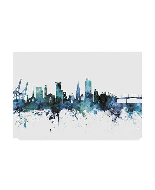 "Trademark Global Michael Tompsett 'Southampton England Blue Teal Skyline' Canvas Art - 19"" x 12"""