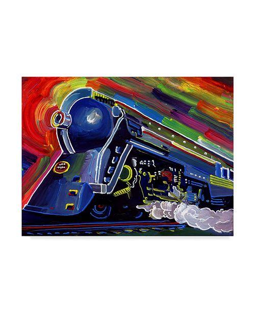 """Trademark Global Howie Green 'Pop Art Blue Train' Canvas Art - 24"""" x 18"""""""