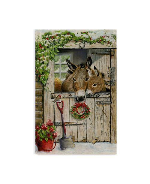 "Trademark Global Janet Pidoux 'Christmas Donkies' Canvas Art - 12"" x 19"""