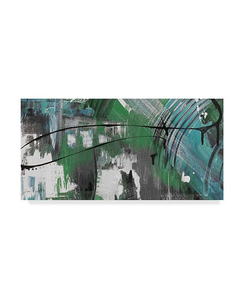 "Trademark Global Jean Plout 'Moody Blues Abstract 1' Canvas Art - 24"" x 12"""