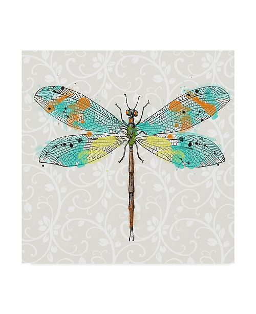 "Trademark Global Jean Plout 'Dragonfly On Gray Floral' Canvas Art - 18"" x 18"""