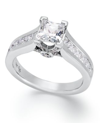 Certified Princess-Cut Diamond Engagement Ring in 14k White Gold (1-1/2 ct.  t.w.) - Rings - Jewelry & Watches - Macy\'s