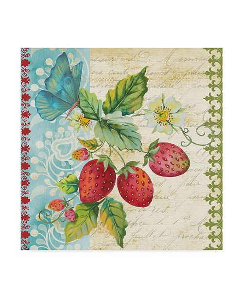 "Trademark Global Jean Plout 'Vintage Fruit Strawberries' Canvas Art - 14"" x 14"""