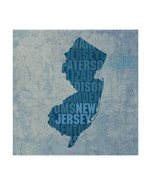 """Trademark Global Red Atlas Designs 'New Jersey State Words' Canvas Art - 18"""" x 18"""""""
