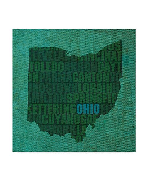 "Trademark Global Red Atlas Designs 'Ohio State Words' Canvas Art - 18"" x 18"""
