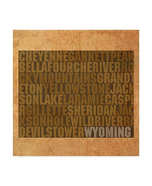 """Trademark Global Red Atlas Designs 'Wyoming State Words' Canvas Art - 18"""" x 18"""""""