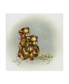 """Peggy Harris 'Teddy Bears Picnic 1' Canvas Art - 14"""" x 14"""""""