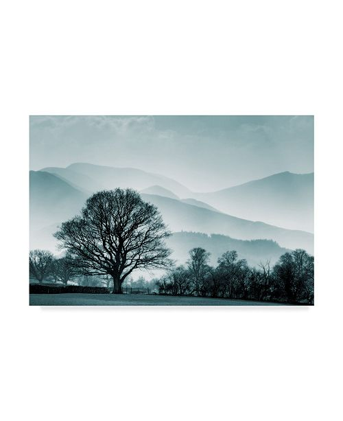 "Trademark Global Tom Quartermaine 'Blue Landscape With Tree' Canvas Art - 19"" x 12"""
