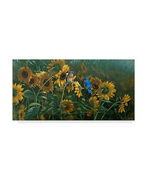 "Trademark Global Michael Jackson 'Sunflowers Patch Birds' Canvas Art - 19"" x 10"""