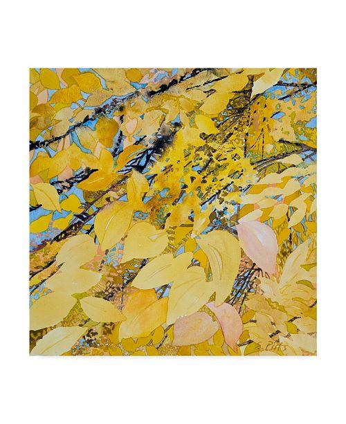 "Trademark Global Sharon Pitts 'Golden Leaves' Canvas Art - 14"" x 14"""