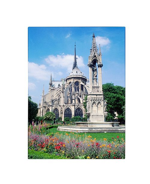 """Trademark Global Kathy Yates 'Notre Dame in Spring' Canvas Art - 18"""" x 24"""""""