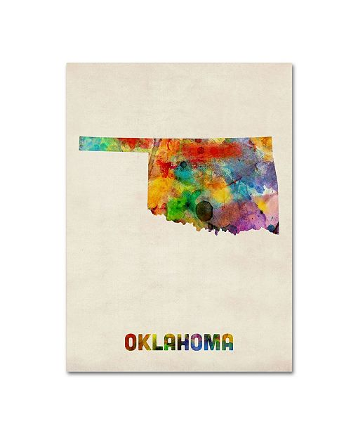"Trademark Global Michael Tompsett 'Oklahoma Map' Canvas Art - 19"" x 14"""