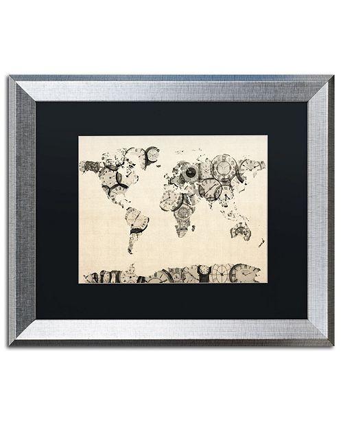 """Trademark Global Michael Tompsett 'Old Clocks World Map' Matted Framed Art - 16"""" x 20"""""""