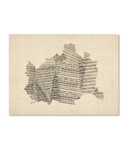 """Trademark Global Michael Tompsett 'Old Sheet Music Map of Vienna Austria' Canvas Art - 18"""" x 24"""""""