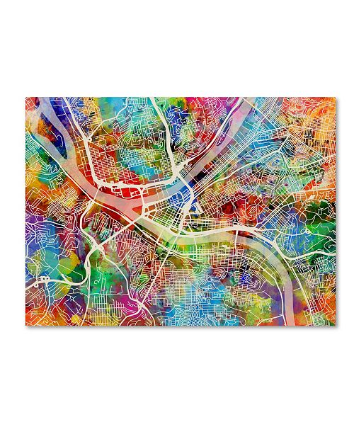 "Trademark Global Michael Tompsett 'Pittsburgh Pennsylvania Street Map IV' Canvas Art - 18"" x 24"""