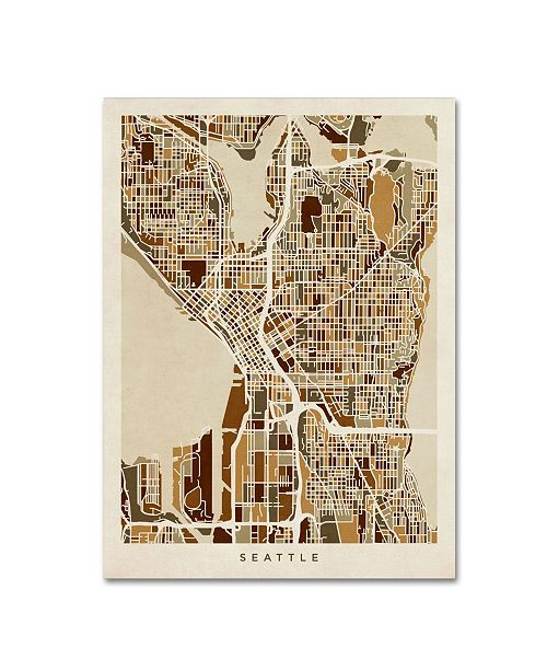 "Trademark Global Michael Tompsett 'Seattle Washington Street Map II' Canvas Art - 18"" x 24"""