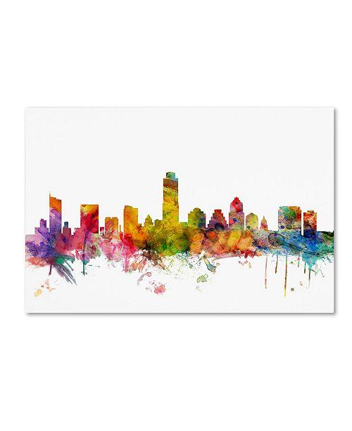 "Trademark Global Michael Tompsett 'Austin Texas Skyline' Canvas Art - 16"" x 24"""