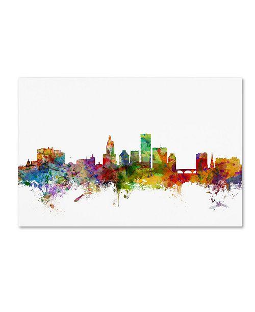 "Trademark Global Michael Tompsett 'Providence Rhode Island Skyline' Canvas Art - 16"" x 24"""