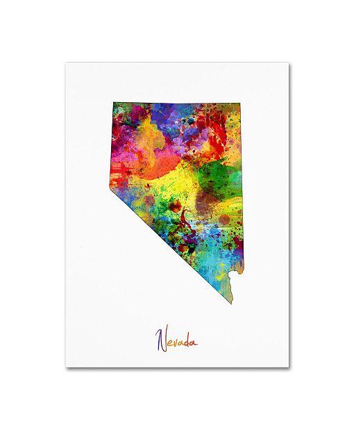"Trademark Global Michael Tompsett 'Nevada Map' Canvas Art - 18"" x 24"""