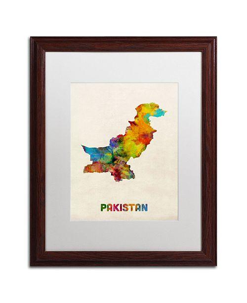"""Trademark Global Michael Tompsett 'Pakistan Watercolor Map' Matted Framed Art - 16"""" x 20"""""""