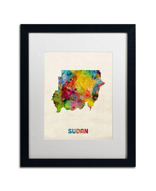 "Trademark Global Michael Tompsett 'Sudan Watercolor Map' Matted Framed Art - 16"" x 20"""