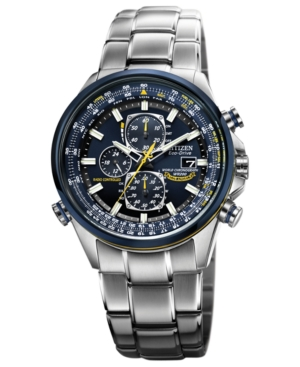 Citizen Men's Eco-Drive Blue Angels World Chronograph A-t Stainless Steel Bracelet Watch 43mm AT8020-54L