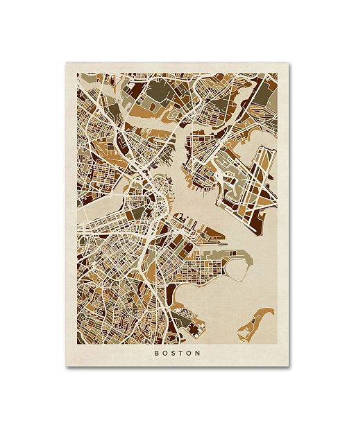 "Trademark Global Michael Tompsett 'Boston MA Street Map Brown' Canvas Art - 24"" x 32"""
