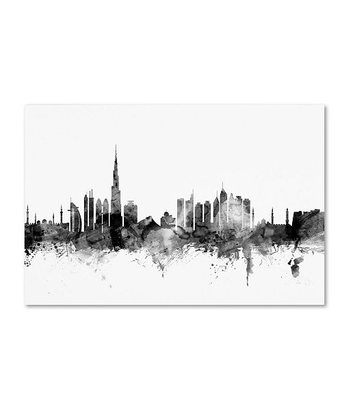 "Trademark Global Michael Tompsett 'Dubai Skyline B&W' Canvas Art - 22"" x 32"""