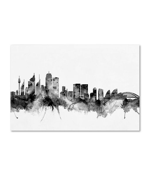 "Trademark Global Michael Tompsett 'Sydney Australia Skyline B&W II' Canvas Art - 30"" x 47"""