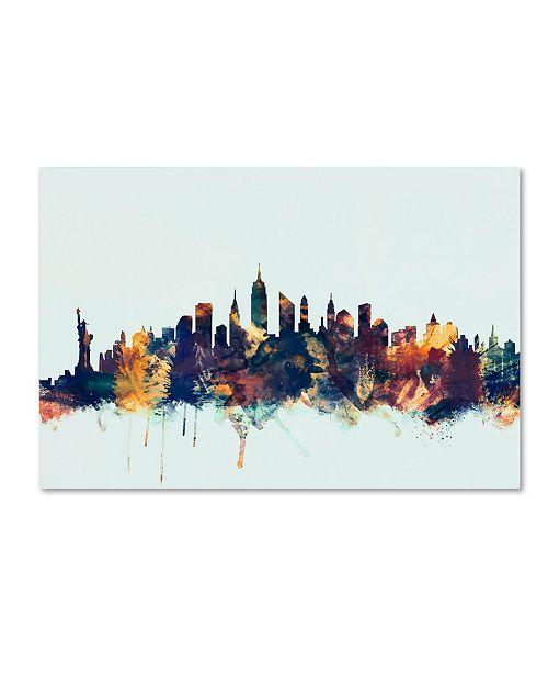 "Trademark Global Michael Tompsett 'New York City Skyline Blue' Canvas Art - 22"" x 32"""