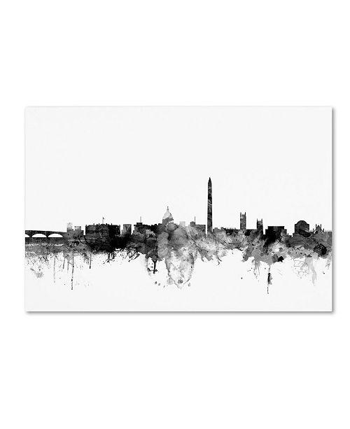 "Trademark Global Michael Tompsett 'Washington DC Skyline B&W' Canvas Art - 22"" x 32"""