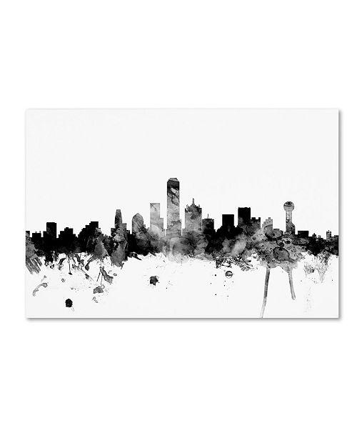 "Trademark Global Michael Tompsett 'Dallas Texas Skyline B&W' Canvas Art - 22"" x 32"""