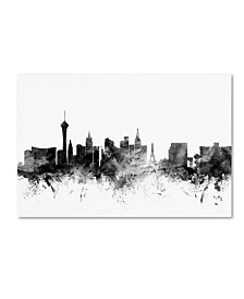 "Michael Tompsett 'Las Vegas Nevada Skyline B&W' Canvas Art - 22"" x 32"""
