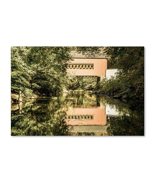 "Trademark Global PIPA Fine Art 'The Reflection of Wooddale Covered Bridge' Canvas Art - 30"" x 47"""
