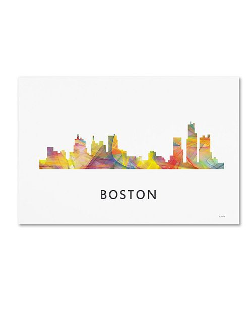 "Trademark Global Marlene Watson 'Boston Mas. Skyline WB-1' Canvas Art - 30"" x 47"""