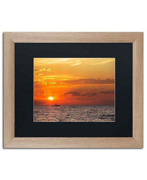 """Trademark Global Jason Shaffer 'Fishing Boat Sunset' Matted Framed Art - 20"""" x 16"""""""