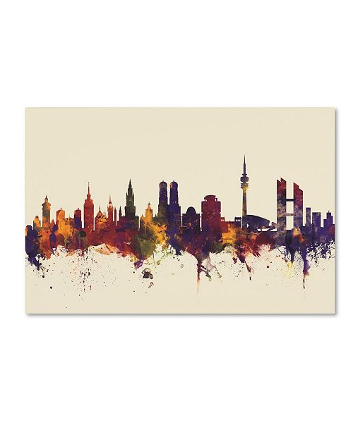 "Trademark Global Michael Tompsett 'Munich Germany Skyline IV' Canvas Art - 30"" x 47"""