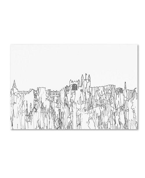 "Trademark Global Marlene Watson 'Bath England Skyline BW Thin Line' Canvas Art - 22"" x 32"""