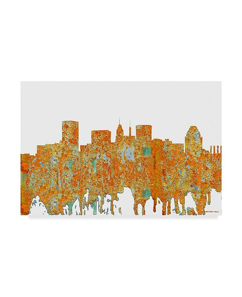 "Trademark Global Marlene Watson 'Baltimore Maryland Skyline Rust' Canvas Art - 30"" x 47"""