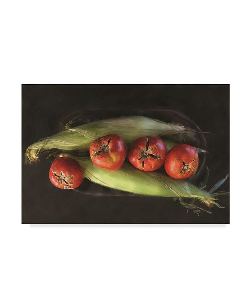 "Trademark Global Lois Bryan 'Corn and Tomatoes' Canvas Art - 22"" x 32"""