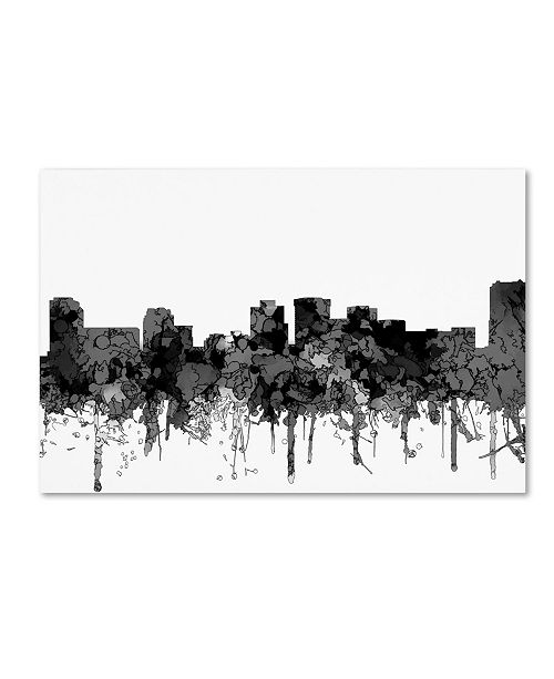 "Trademark Global Marlene Watson 'Norfolk Virginia Skyline BW' Canvas Art - 30"" x 47"""
