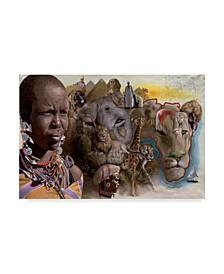 """D. Rusty Rust 'Africa Lions' Canvas Art - 30"""" x 47"""""""